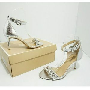 🆕 Michael Kors Ankle Strap Sandals Silver Snake 6